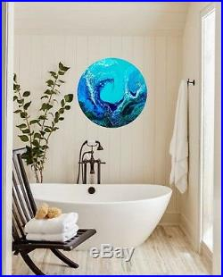 Original Art Acrylic Painting Abstract Resin Ocean Wave 60cm round board