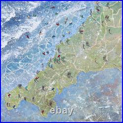 Original Art Cornwall Map Beachscape Cornwall Cornish painting
