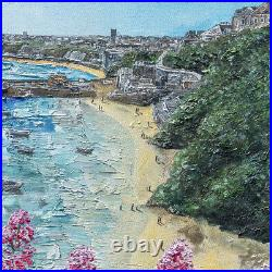 Original Art Newquay Harbour Cornish artist painting art gift