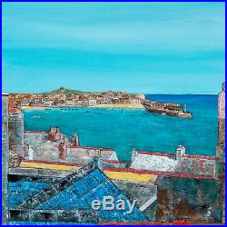 Original Art Over the Rooftops St Ives Cornwall Cornish painting