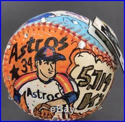 Original Charles Fazzino Painted Nolan Rayan Baseball