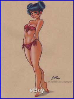 Original Color Mixed Media Drawing Sketch Art Pin-Up Commission by Eric Matos/EM
