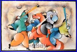 Original David Schluss Mixed Media on Board Painting 101x152 cm 1995