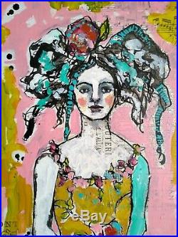 Original Framed Mixed Media Painting Garden Party Portrait Woman Gritty Jane