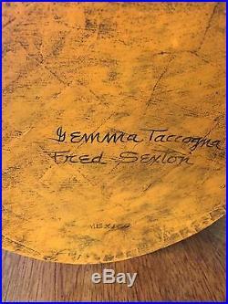 Original Gemma Taccogna & Fred Sexton Signed Paper Mache Bowl & Stand Mexico
