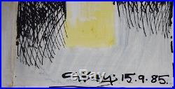 Original Geoffrey Key Dove Cote Mixed Media on Paper