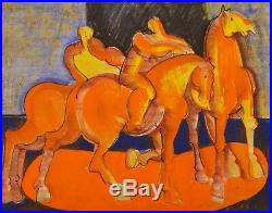 Original Geoffrey Key Horses and Riders Mixed Media on Paper Art/Painting