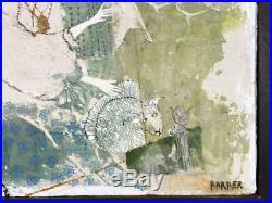 Original Gertrude Russell Barrer MID Century Modern Mixed Media Oil Painting