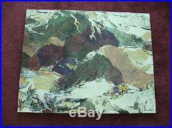 Original Helen Dowd Mixed Media Collage Alaska Sounds Seem Hushed