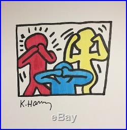Original Keith Haring Speak No Evil, See No Evil, Hear No Evil Mixed Media