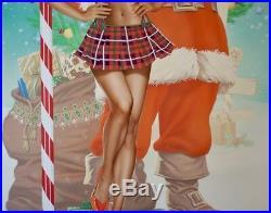 Original Koufay Pin Up Painting Art Pinup Nude Female Woman Santa's Helper Cutie
