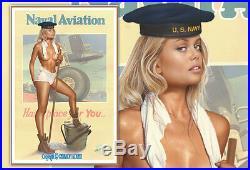Original Koufay Ww2 Navy Aviation Pin Up Wwii Art Nude Girl Woman Pinup Painting