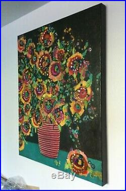 Original Large Floral Mixed Media Painting by Gritty Jane Spakowsky