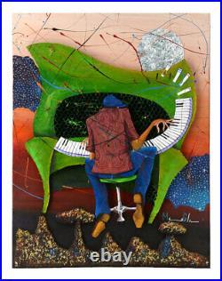 Original Marcus Glenn Mixed Media Acrylic 3d Painting On Board Keys To The Soul