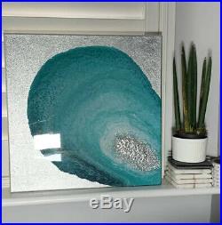 Original Mixed Media Wall Art- Resin Top Coat- Silver Leaf Detail- 40X40 Canvas