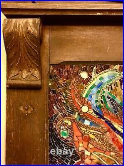 Original Mosaic Art Of Fire Dancer In An Antique Wood Fireplace Mantle