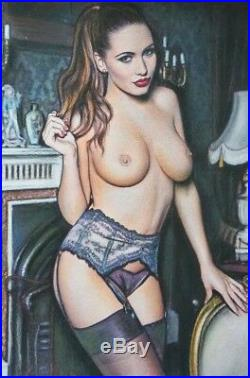 Original Pin Up Illustration Art Pinup Painting Lovely Nude Girl Female Woman