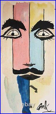 Original Salvador Dali Hand Drawn & Signed Self Portrait Mixed Media