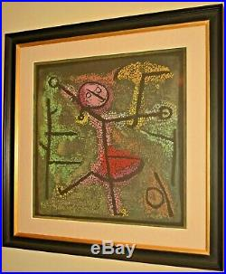 Original Vintage Paul Klee Dancing Girl Figure Abstract Mixed Media Oil Painting