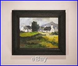 Original Welsh Landscape Painting of Cottages by A Hudson