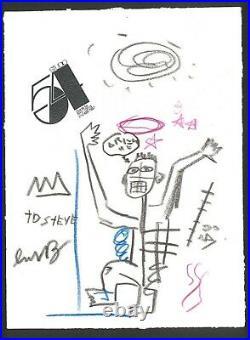 Original mixed media on Paper! JM BASQUIAT hand signed-double framed