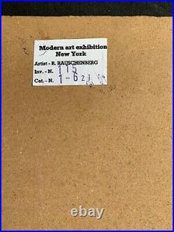 Original vintage rare -mixed media on cardboard! Hand signed Robert Rauschenberg