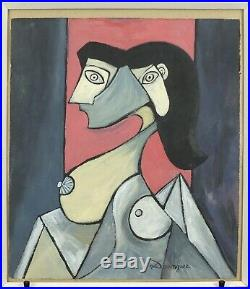 Oscar Dominguez Surreal Cubist Portrait of a Nude Lady Mixed Media Card Signed
