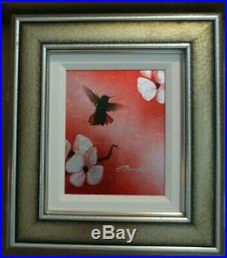 PATRICK GUYTON MINI BIRD SERIES RED UNIQUE MIXED MEDIA ON ALUMINUM Hand Signed
