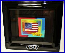 PETER MAX Flag with Heart on Blends Framed Mixed Media Art on Paper Signed, COA