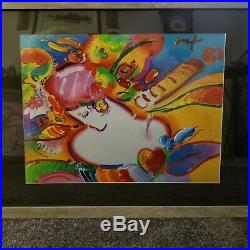 PETER MAX Original Acrylic Oil PAINTING ON PAPER FLOWER BLOSSOM LADY I 28x36