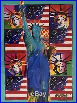PETER MAX Painting God Bless America III 5 Liberties Acrylic Mixed Media COA