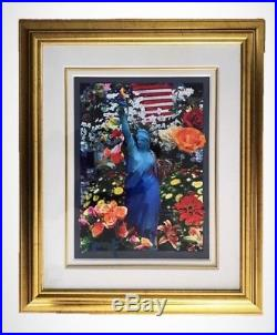 PETER MAX Painting Land of the Free Home of the Brave II Acrylic Mixed Media COA