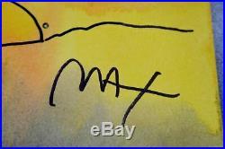 PETER MAX Umbrella Man 89' ORIGINAL HAND PAINTED 11 x 15 Mixed Media Panting