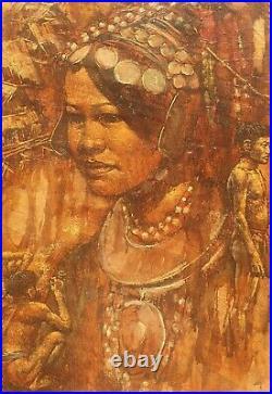 PRAYAT PONGDAM 1934-2014 large original signed mixed media oil painting Thailand