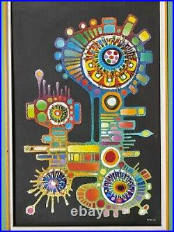 PSYCHEDELIC Mitris Mixed Media Painting Wood Mid Century Folk Wall Sculpture