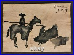 Pablo Picasso drawing on paper signed & stamped mixed media VTG ART