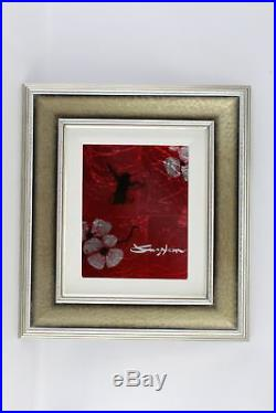 Patrick Guyton Mini Bird Series (Red) Signed UNIQUE Mixed Media Framed Piece
