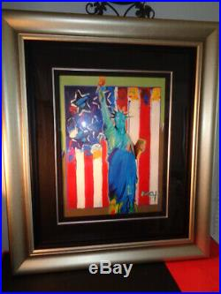Peter Max 2005 United We Stand II 911 Series Mixed Media with Acrylic Painting