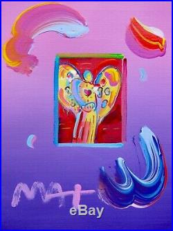 Peter Max ANGEL WITH HEART Hand Signed Original Overpaint Mixed Media Painting