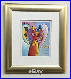 Peter Max Angel With Heart Mixed Media With Acrylic On Paper H/s Framed Coa