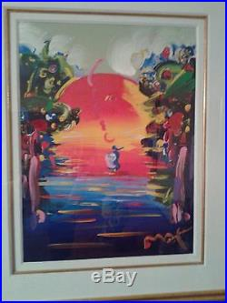Peter Max Better World III 24 x 18 Mixed Media Painting with COA 1999