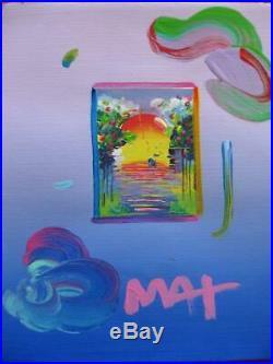 Peter Max Better World Original Mixed Media Acrylic 8.5 x 11 Publisher COA