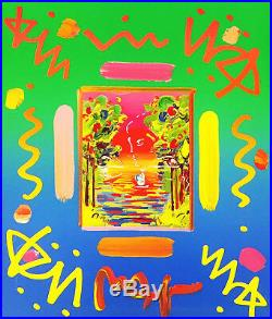 Peter Max Better World (overpaint) 1999 Unique Mixed Media Make An Offer