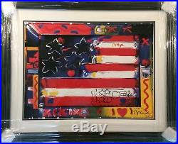 Peter Max Flag Signed & Personalized Mixed Media September 11, 2001 Framed