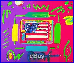 Peter Max Flag (overpaint) Unique Mixed Media 24x26 Framed Others Avail