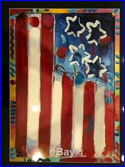 Peter Max Flag with Heart Original signed Mixed Media Framed with COA