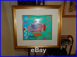 Peter Max Flag with Heart original unique mixed media painting