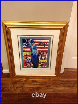 Peter Max Full Liberty with four heads mixed media and acrylic