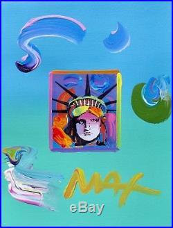 Peter Max LIBERTY HEAD Hand Signed Original Overpaint Mixed Media Art Painting