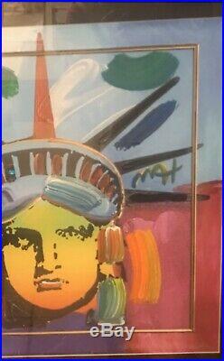 Peter Max Liberty Head II Original Signed Mixed Media Framed with COA